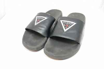 19b31a99946a38 GUESS MENS SLIDES Size 9 Black Leather Sandals Flip Flops Spell Out ...