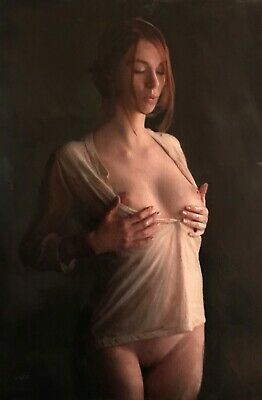 """NEW WILLIAM OXER ORIGINAL """"The Commanding Self"""" nude cute Woman Girl PAINTING"""