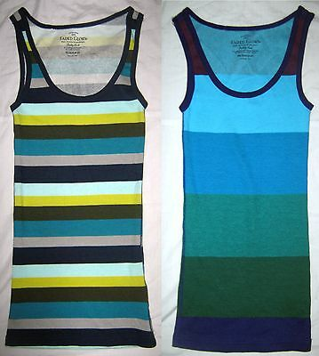 LOT 2 FADED GLORY Stripe Knit Ribbed Singlet Cami Tank Top Shirt Tunic XS NWOT