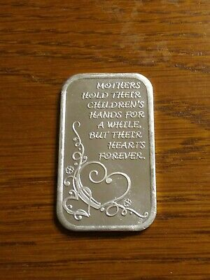 Mothers Day Hold Their Childrens Hands 1 TROY OZ .999 FINE SILVER ART BAR COIN
