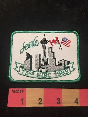 1989 SPACE NEEDLE Seattle Washington USA & Canada Flags NIBC BOWLING Patch 87XD