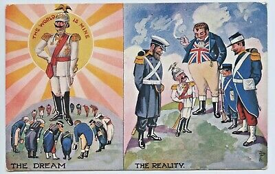 Ww1 Npu Patriotic Postcard The World Is Mine (German) The Reality (Allies)  X76