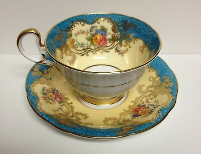 Vintage Aynsley Cup & Saucer Ornate Blue Yellow Gold Flowers Bone China