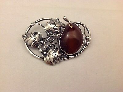 Antique Art Nouveau Style Cabochon Baltic Floral Amber & Sterling Silver Pin