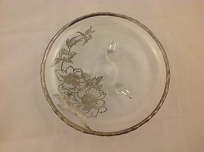 Antique Vintage Sterling Silver Overlay Floral Footed Plate Platter