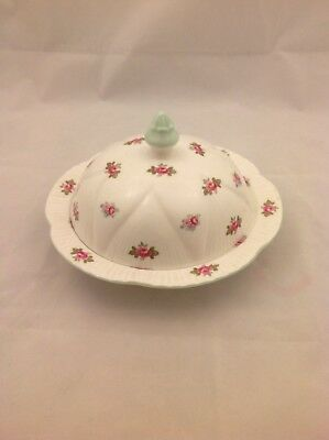 Shelley ROSEBUD Dainty Covered Dish Mint Green Trim Muffin Cheese Butter Sweets