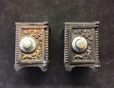 Antique CAST IRON SAFE BANKS Two Small With Combination Dials Ornate Display