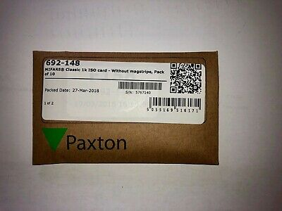 Paxton 692-148 Mifare Classic 1K EV1 PVC ISO Cards (No Magstripe) - Pack of 10