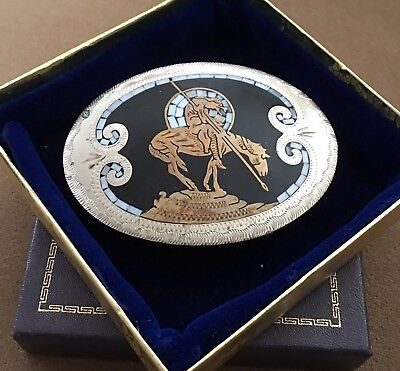 Vtg Johnson Held End Of Trail Moon Inlay Handcrafted Native American Belt Buckle