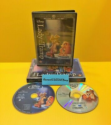 Disney LADY & THE TRAMP DIAMOND EDITION BLU-RAY/ DVD in DVD Packaging AUTHENTIC
