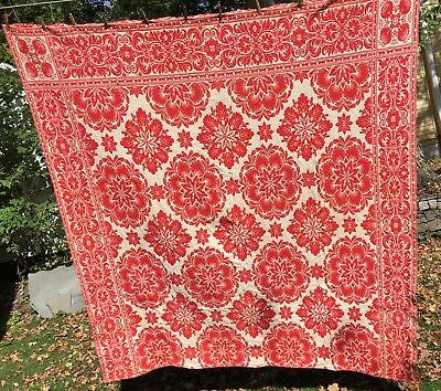 Antique Jacquard Coverlet Tangerine Red Ivory Color Reversed Side Matching Large