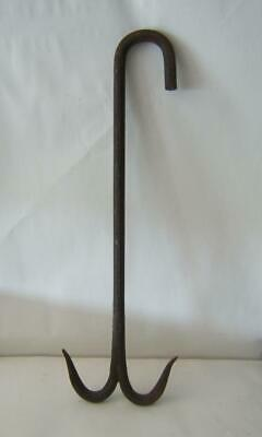 "Antique Cast Iron Metal 25"" X 8"" Huge Double Hook Fishing Whaling Hook No. 20"