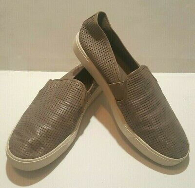 7c42cf231 Vince Blair Slip On Perforated Leather Sneakers Shoes Woodsmoke Womens Size  8.5