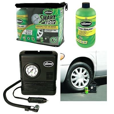 Slime Smart Spare Roadside Tyre Puncture Repair Kit Treatment Inc. Inflator Pump