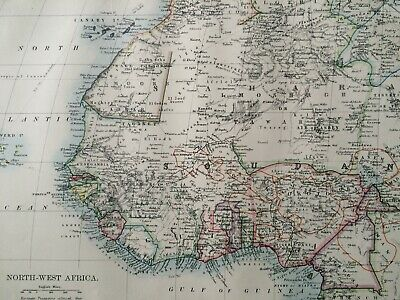 1899 North-West Africa Original Antique Map Nigeria Senegal Ghana Togo Cameroon