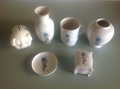 HOLLY HOBBIE, 6 Pieces, Vases, Trinket, Dish, Betty Mug, Piggy Bank, Blue Bonnet