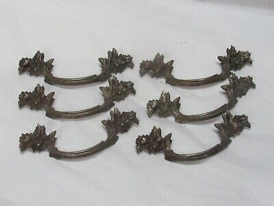 LOT of 6 VINTAGE FRENCH PROVINCIAL DRAWER PULLS / HANDLES ORNATE FLOWERS