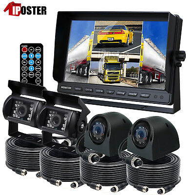 "9"" Quad Monitor DVR Loop Recording 4PIN 4X REAR SIDE View CCD Camera For Truck"
