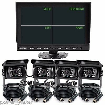 "9"" Split Quad Monitor+4ch Video View+4x 4Pin Reversing CCD Camera 66Ft For Truck"