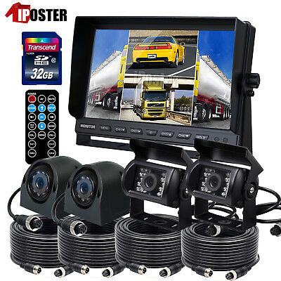 "9"" QUAD MONITOR Built-in DVR 32GB SD 4X 4PIN CCD CAMERA SAFETY SYSTEM FOR TRUCK"