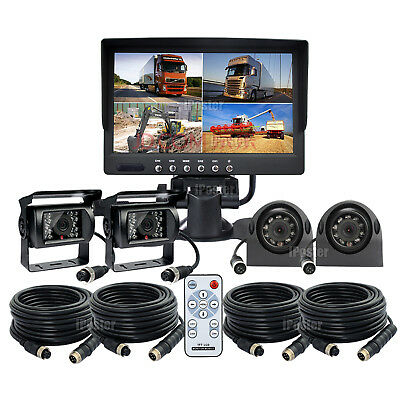 "7"" Quad Monitor 4x 4Pin Heavy Duty IR Rear Side View CCD Camera 33Ft For Truck"
