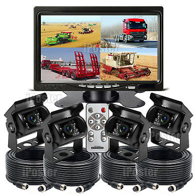 "IPOSTER 12/24V 7"" Quad Monitor 4x 4Pin IR Reversing Sharp CCD Color Camera Truck"