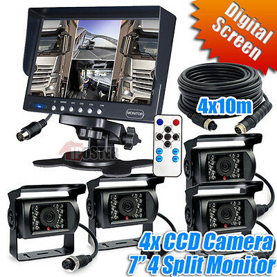 "4 Reversing IR CCD Camera Security System 7"" Quad Monitor for Bus Truck 4Pin 24v"