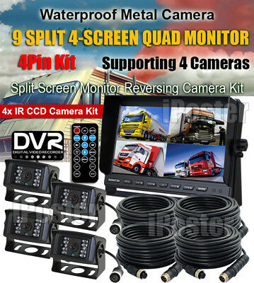 "4x 4Pin CCD CAMERA 9"" QUAD REAR VIEW MONITOR WITH DVR SD SLOT FOR TRUCK VAN BUS"