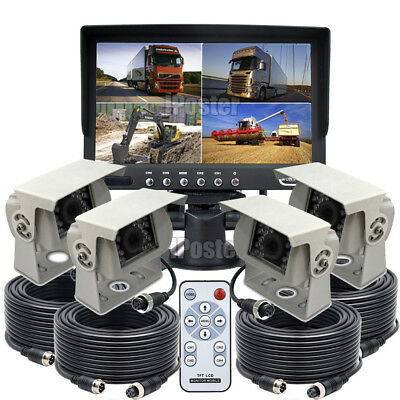 "7"" Quad Monitor 4x 4PIN Heavy Duty Side IR Rear View CCD Camera 12/24V For Truck"