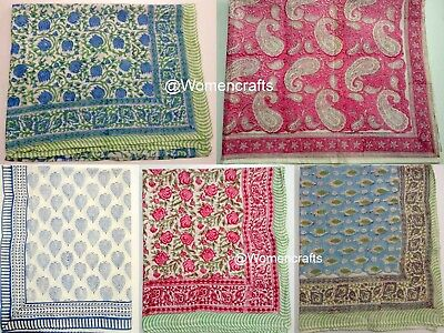 5 Pcs Wholesale Lot Hand Block Print Sarong Decorative Women Pareos Duppata