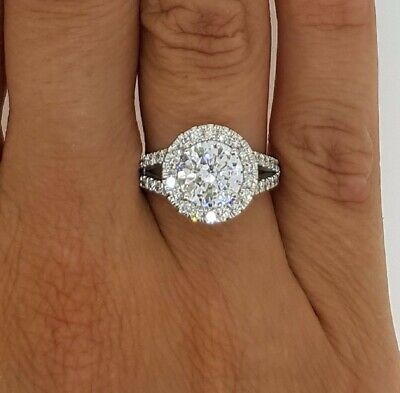4.00 Ct Round Cut D/vs2 Halo Diamond Solitaire Engagement Ring 14K White Gold