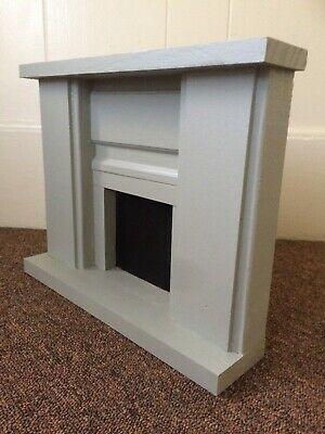 """Large Doll Fireplace OOAK - Dark Gray 12 or 18"""" Doll Furniture"""