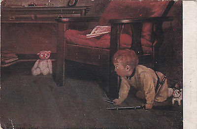 VERY RARE Antique by Ker Boy hunting the teddy bear old Soviet postcard