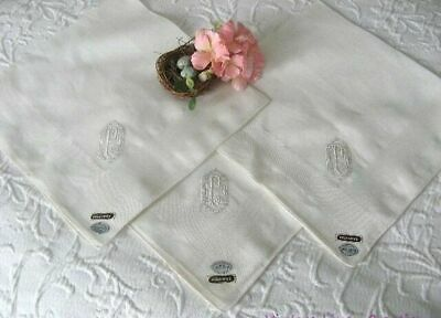 "HUGE 19"" Antique MONOGRAM P Embroidery WEDDING Vintage BRIDAL HANKY 3 Available"