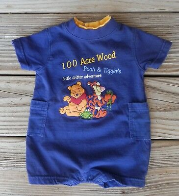 Disney Winnie the Pooh Tigger Baby Boy Romper 3-6 Month Embroidery 100 acre wood