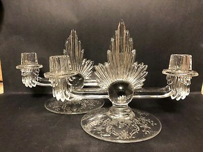 2 Antique Art Deco Torch Style Sterling Silver Overlay Art Glass Candle Holders