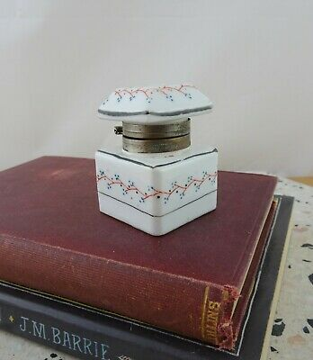 Small Vintage Hand Painted Porcelain Inkwell with Hinged Lid
