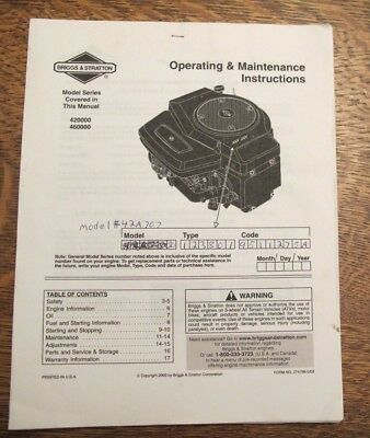 Briggs & Stratton Operating/Maintenance Instructions Model series 420000/460000