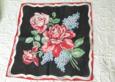 STUNNING Pink & Red TEA ROSES & FRENCH BLUE LILACS * Black Ground VINTAGE HANKY