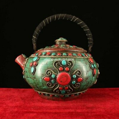 China Copper Bronze Inlaid Coral Turquoise Gem Wine Tea Pot Flagon Teapot