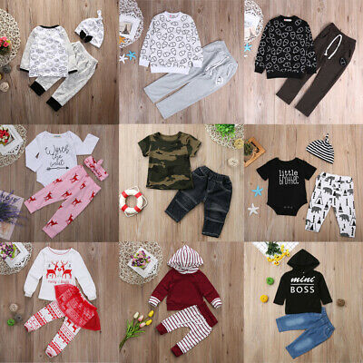 Infant Kid Baby Girl Boy Cotton Casual T-shirt Tops+ Pants Outfits Set Clothes