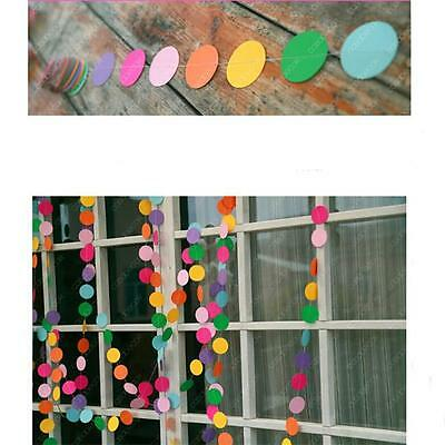 Party Decoration Colorful Polka Dot Round Paper Card Hanging Garland Wedding MA