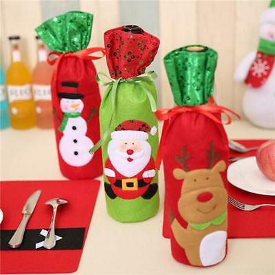 Christmas Themed Wine Bottle Holder Cover Xmas Gift Bags Dining Table Decor MA