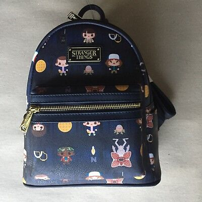 68ac34e0ac1 LOUNGEFLY STRANGER THINGS Forest Mini Backpack NWT Navy