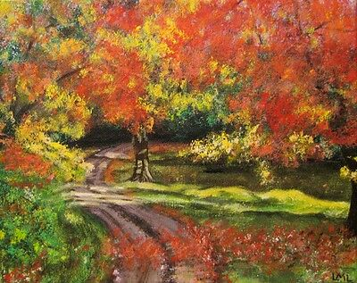 "Original Hand painted acrylic on canvas Colors of Autumn 8""x10"" signed"