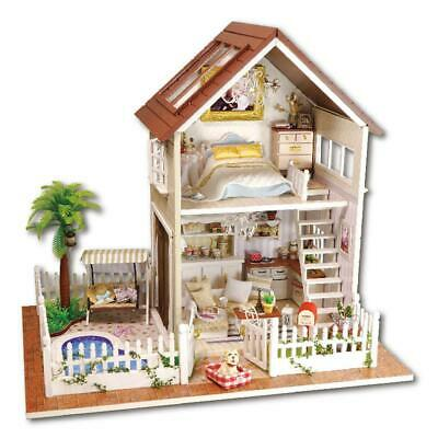 DIY Mini Wooden Dollhouse Kit House Loft Toy Furniture Gift with LED Light Music