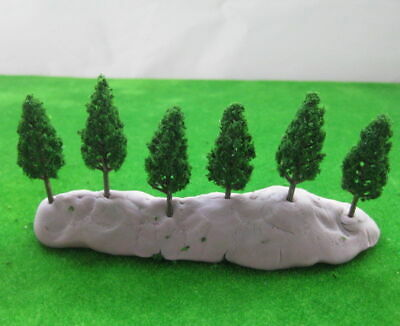 New 50 Pieces 38mm Good Quality Realistic Looking Dark Green Plastic Trees