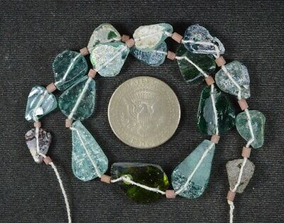 Ancient Roman Glass Beads 1 Medium Strand Aqua And Green 100 -200 Bc 1011