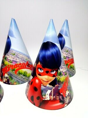 Miraculous Ladybug Party Birthday Hats Caps Set Of 10