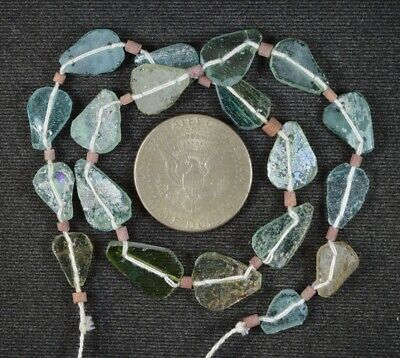 Ancient Roman Glass Beads 1 Medium Strand Aqua And Green 100 -200 Bc 1013